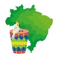 mapa do brasil com papagaio e tambor vetor