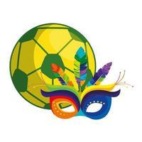 bola de futebol com ícone de máscara de carnaval isolado vetor