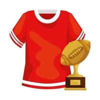 troféu e camisa de futebol americano vetor