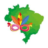 mapa do brasil com ícone de máscara de carnaval isolado vetor