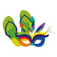 chinelos com ícone de máscara de carnaval isolado vetor