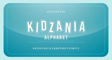 divertido criança cartoon fonte alfabeto maiúsculo e número vetor