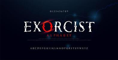 fonte alfabeto filme assustador de terror vetor