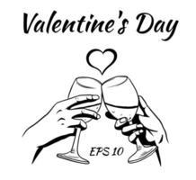 mãos de amantes com taças de vinho. cartão de dia dos namorados. vetor