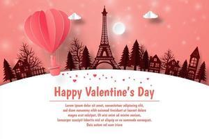feliz dia dos namorados, cartão postal dos namorados com um balão voando pela cidade vetor