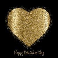 Fundo de dia dos namorados com coração de ouro reluzente
