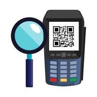 dataphone com código de leitura qr e lupa vetor