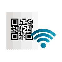 papel de recibo de código qr e desenho vetorial de wi-fi vetor