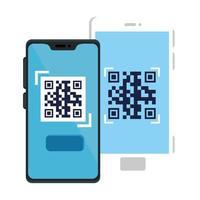 código qr dentro do design do vetor do smartphone