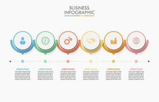 Infográfico de 6 etapas do círculo conectado colorido vetor