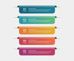 modelo de infográficos de itens de fita multicolorida