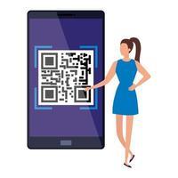 mulher de negócios e smartphone com código de digitalização qr vetor