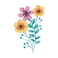 flores fofas com ramos e folhas vetor