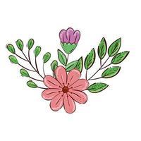 flores fofas com ramos e folhas