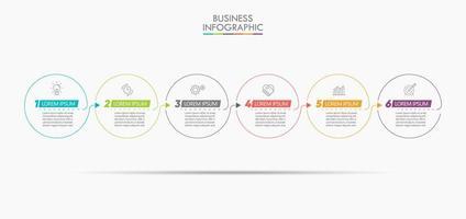 Infográfico seta modelo de design de linha fina com 6 opções vetor