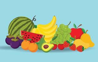 frutas de desenho animado, design de vetor de alimentos naturais