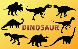 desenho de vetor de silhueta de dinossauro.