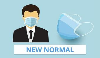 novo normal, máscara médica, covid-19, proteção contra doenças vetor
