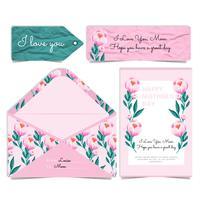 Cartão e envelope de peônias do dia das mães do vetor