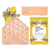 Cartão e envelope do dia das mães do vetor