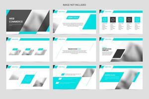 slides de apresentação de promoção de negócios geométricos em azul vetor
