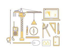 itens de construção conjunto de objetos lineares amarelos