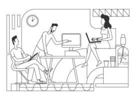 ilustração vetorial linha fina trabalho em equipe