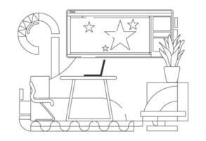 ilustração vetorial de contorno de local de trabalho moderno líder de equipe vetor