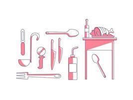 itens culinários conjunto de objetos lineares vermelhos
