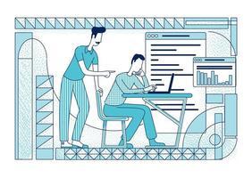 funcionários de escritório trabalhando em ilustração vetorial de silhueta plana de projeto de análise vetor