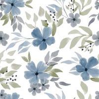 padrão sem emenda floral azul aquarela vetor