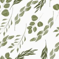 aquarela folha verde padrão sem emenda vetor