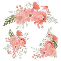 Conjunto de buquê de arranjo floral em aquarela de pêssego vetor