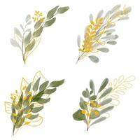 Conjunto de bouquet de folhas em aquarela com folhas douradas vetor