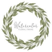 folha aquarela círculo floral botânico grinalda vetor