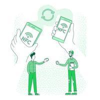 compartilhamento de conteúdo, ilustração vetorial de conceito de linha fina de comunicação de gadgets vetor