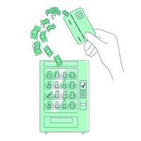 ilustração em vetor conceito linha fina micropagamento sem contato