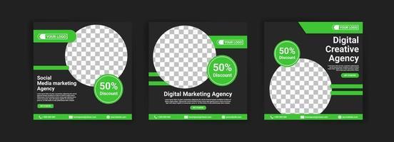 agência de marketing de mídia social. agência de marketing digital. agência de criação digital. modelo de banner de postagem de mídia social para o seu negócio. vetor