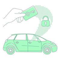 cartão-chave e fechadura sem chave, ilustração em vetor conceito linha fina de acesso de carro
