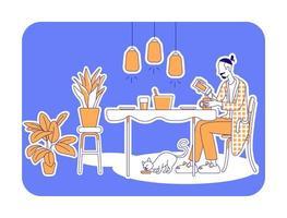preparando a refeição ilustração em vetor silhueta plana