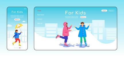 para crianças modelo de vetor de cor plana da página de destino
