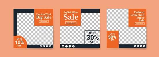 mídias sociais postar modelos para a semana da moda. modelo de postagem de mídia social para marketing digital e promoção de vendas. publicidade de moda. oferta de banner de mídia social. vetor
