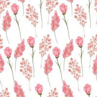 aquarela rosa botânico floral padrão sem emenda vetor