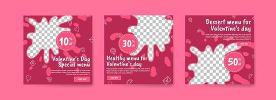 modelo de postagem de mídia social para marketing digital e promoção de vendas no dia dos namorados. publicidade de menus de alimentos especiais para o dia dos namorados. boa comida saudável para o dia dos namorados vetor
