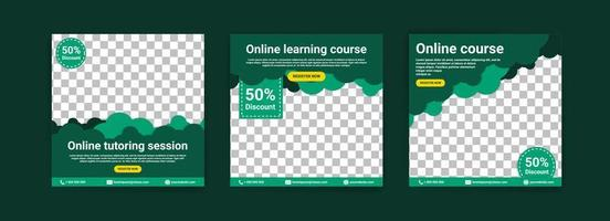 cursos e aulas online. modelos de postagem de mídia social para marketing e promoção digital. anúncios para webinars. continue estudando até em casa. vetor