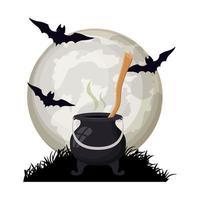 morcegos de halloween voando com caldeirão em cena noturna vetor