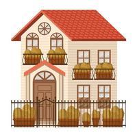 bela casa com plantas de outono e fachada de cerca vetor
