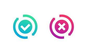 troca, conversão concluída ou ícone com falha com marca de seleção