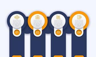 modelo de infográficos de negócios, 1, 2, 3, 4 etapas com ícones de linha vetor