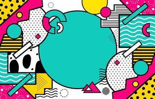 fundo geométrico pop art com traço preto vetor